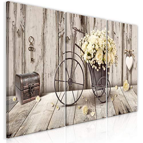 murando - Cuadro en Lienzo Flores 120x60 cm impresión de 3 Piezas en Material Tejido no Tejido impresión artística fotografía Imagen gráfica decoración de Pared Rosas Vintage n-C-0291-b-e