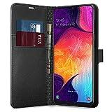 Spigen, Funda Compatible con Samsung Galaxy A50 / A30s / A50s 2019 [Wallet S] Tarjetero, Cubierta Plegable y función de Kickstand - [Saffiano Black]