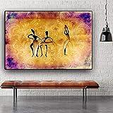 KWzEQ Resumen Mujer Africana Bailando Figura Pintura sobre Lienzo de Arte en la Pared de la Sala,Pintura sin Marco,75x112cm