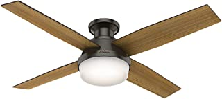 Hunter Indoor Low Profile Ceiling Fan with light and remote control - Dempsey 52 inch, New Bronze, 59447
