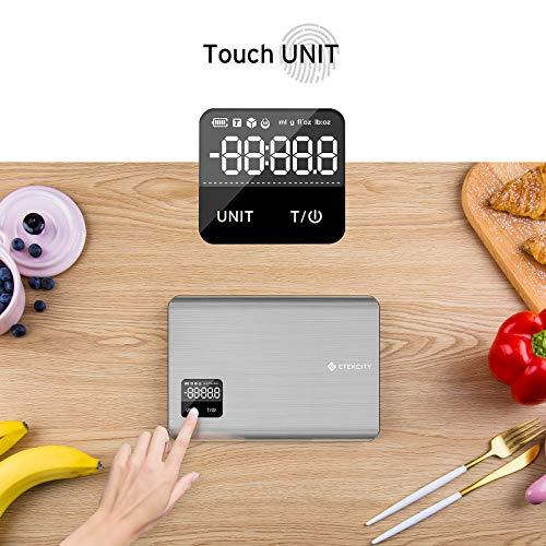 Etekcity Bilancia da Cucina Digitale in Acciaio Inossidabile 5kg/11lb Bilancia Elettronica Alimenti con Schermo Tattile, LCD Display Retroilluminato, Alta Precisione 1g, 2 Batterie Incluse, Argento