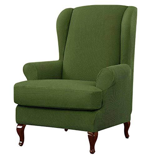JHLD Stretch Ohrensessel Überzug Bezug, Mode Elastan Jacquard Ohrenbackensessel Sesselbezug Sofabezug Rutschfes Weich Waschbarer Für Ohrensessel-Grün-2Stück
