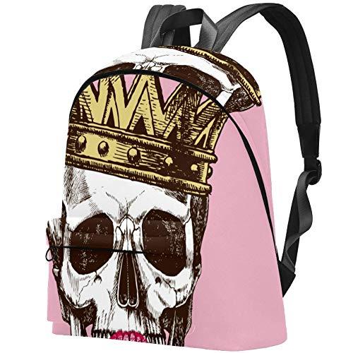 Schädel mit Krone und Lippenstift König des Todes Bag Teens Student Bookbag Leichte Umhängetaschen Reiserucksack Tägliche Rucksäcke