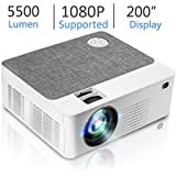 Upgraded Mini HD Projector with 5500 Lux Full HD 1080P 200