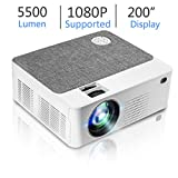 Upgraded Mini HD Projector with 5500 Lux Full HD 1080P 200' Video Projector, Home & Outdoor Movie Projector Compatible with Fire TV Stick, Smartphone, HDMI,VGA,AV and USB