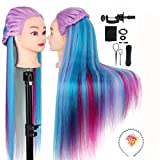 MYSWEETY 26' Übungskopf Frisierkopf Friseur 100% Synthetisches Haar Perückenkopf Puppenkopf...