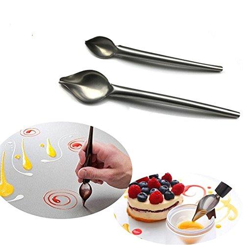 Faneli Set van 2 roestvrijstalen filterlepels voor grote en kleine potloden, set van 2 stuks, roestvrij staal, decorlepel, doe-het-zelf taart, chocolade, gebak, decoreren, potlood, lepel, gereedschap
