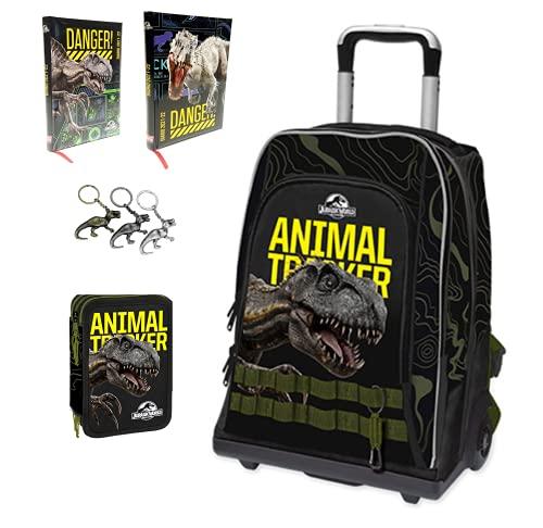 Jurassic world. Trolley Zaino Scuola Double Animal Tracker by Gut + Astuccio 3 Piani Zip Completo + Diario F.to Standard + Omaggio portachiave Dinosauro in Metallo