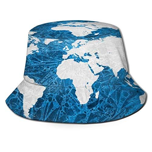GOSMAO Acuarela Ice World Pattern Hombres Mujeres Ocio Sombrero de Pescador Gorra de Cubo Gorra de Sol Plegable Negro