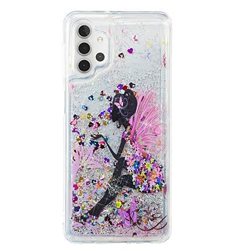 Everainy Funda Compatible para Samsung Galaxy S21 Silicona 3D Glitter Liquida Motivo Transparente Brillante Dibujos Carcasa Bling Goma Antigolpes Bumper Case Cover (Mariposa)