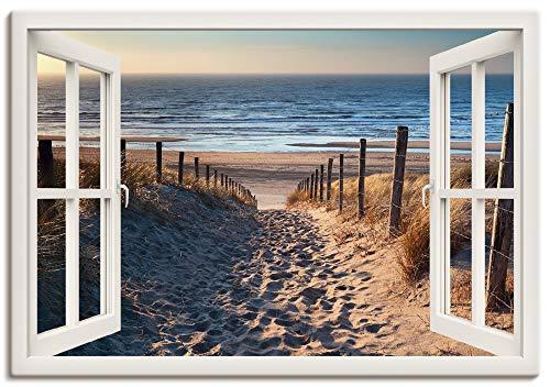 Artland Leinwandbild Wandbild Bild auf Leinwand 100x70 cm Wanddeko Fensterblick Fenster Strand Düne Meer Maritim Landschaft Küste Natur T6BV