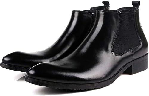Nihiug botas de Chelsea para Hombre Botines de Moda Botines de Moda para Hombre botas Altas para Ayudar a los zapatos de Cuero