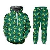 Pantalones de Sudaderas con Capucha para Hombre de 2 Piezas Set de 2 Piezas de Hojas Verdes de Hojas Impresas 3D HSPA60180 L