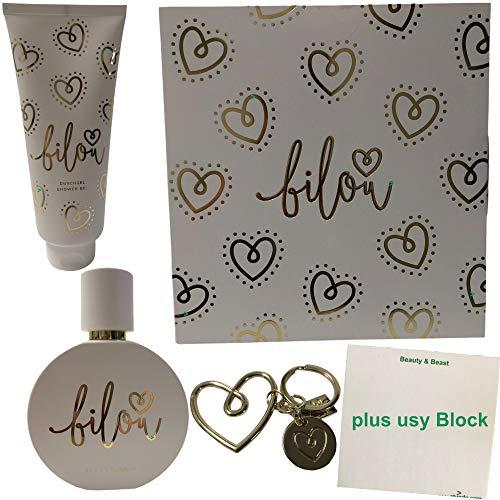 Bilou Gold Love Geschenkset 2020 (1x Eau de Parfum, 1x Duschgel, 1x Schlüsselanhänger) + usy Block
