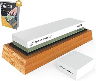 Sharp Pebble Piedra de afilar 2 Side Grit Whetstone mejor cuchillo de cocina Afilador Waterstone con antideslizante de goma base y aplanamiento de piedra 3000/8000