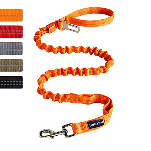 AUROTH Heavy Duty Bungee Dog Leash for Medium Large Breed Dogs, No Pull for Shock Absorption with Car Seat Belt, 2 Padded Handles 4.5FT 6FT Training Dog Leash Orange