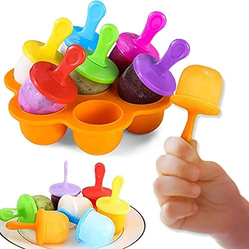 7 Fori Mini Stampo in Silicone Per Ghiaccioli,Formine Ghiaccioli Riutilizzabili,Stampi per Gelato Bambini,Contenitore per Alimenti per Bambini,Stampo Per Frutta Congelata o Yogurt (Arancia)