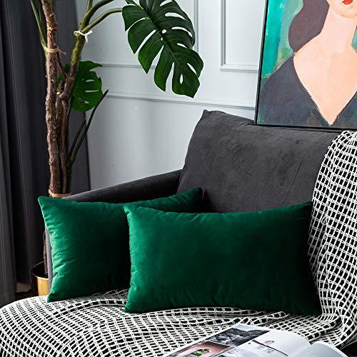 UPoPo Juego de 2 fundas de cojín de terciopelo decorativas, de un color, suaves, para sofá, dormitorio, salón con cremalleras, Verde Agua, 30 x 50 cm