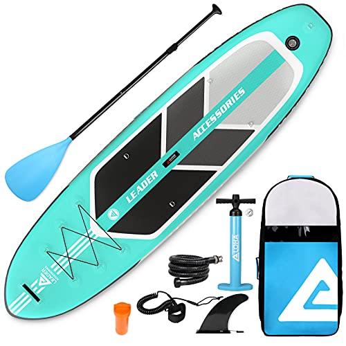 Leader Accessories Tabla de Sup de 320x81x15cm Sup Inflable, 300 LBS de Capacidad de Carga, Tabla de Stand Up Paddle, Tabla de Surf Sup con Bomba de Aire, Remo Ajustable, Línea de Seguridad