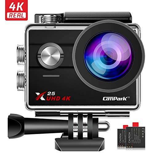 Campark X25 Ultra 4K/30fps Action Cam WiFi 170 Gradi Ampia Vista con 2 Batterie Compatibile con gopro