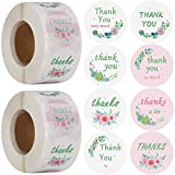 1200PCS Thank You Stickers Roll, 1.5 Inch 8 Different Design Round Floral Strong Adhesive Thank You Labels Adhesive for Bags, Boxes, Canning & Online Sales