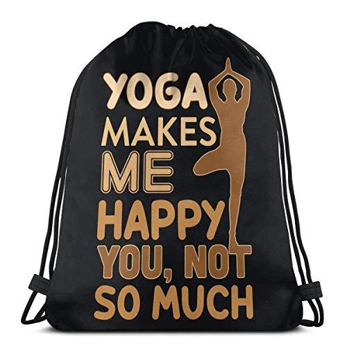 JEOLVP Mochila con cordón Bolsa Saco de poliéster con cincha Mochila informal Mochila deportiva Mochila Unisex Yoga Make Me Happy