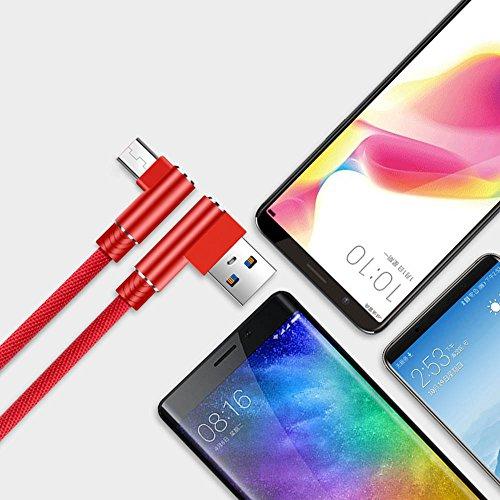 Cuitan Micro USB Kabel, 2M USB Schnellladekabel 90 Grad Rechtwinklig Legierung Nylon Geflochtene Ladekabel für Android Smartphones, Samsung, HTC, Sony, Nexus - Rot