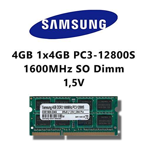 Samsung 4 GB (1 x 4 GB) DDR3 1600 MHz (PC3 12800S portátil) So DIMM Memoria RAM Memory