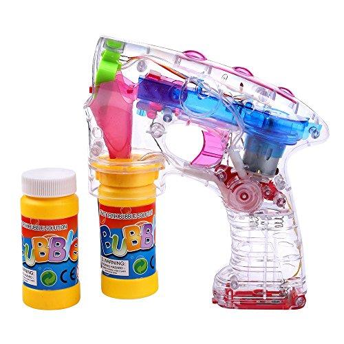 Schramm® LED Seifenblasenpistole incl. 2x50ml Seifenblasen Flüssigkeit OHNE BATTERIEN Pistole Bubble Gun