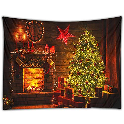 Cinati Christmas Wall Tapestry with Xmas Tree&Fireplace, Fadeless Wrinkle-Free Hanging Backdrop for Photography, Holiday Wall Decor for Living Room, Bedroom, Dining Room, 51 x 59 Inches, Colorful