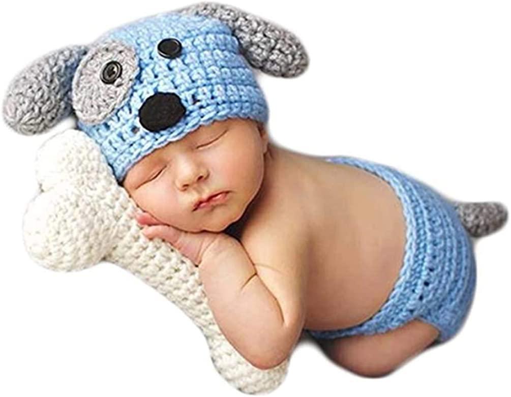 Newborn Baby Photography Props Outfits Dog Knitted Crochet Blue Seasonal Wrap Introduction 2021 new
