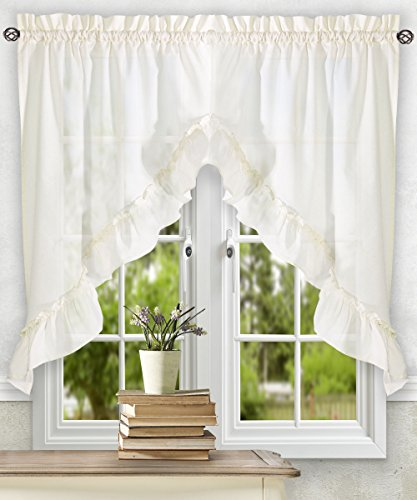 Simple Comfort Ellis Curtain Stacey 60-by-38 Inch Ruffled Swag Curtain (Ice Cream)