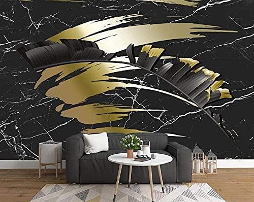 XHXI Marmoleado negro de las hojas doradas Papel tapiz no tejido Papel tapiz 3D Decoración de pared Murales Sala de estar papel Pintado de pared tapiz Decoración dormitorio Fotomural-300cm×210cm