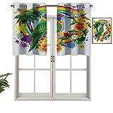 Hiiiman Cortinas cortas opacas con ojales Lorikeet en círculo arcoíris con palmeras y flores tropicales, juego de 1, cenefas pequeñas de media ventana para cocina de 91,4 x 45,7 cm
