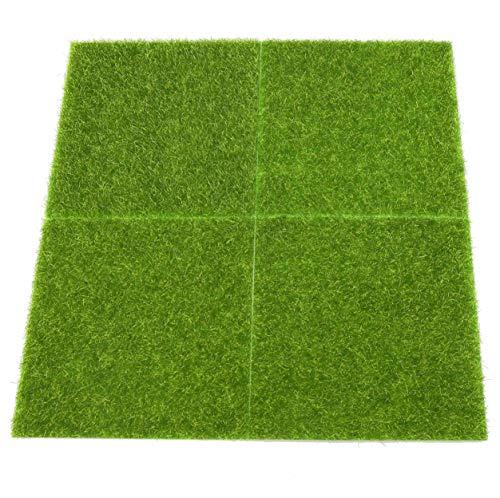 F Season 4 Stück DIY-Kunstrasen 15 x 15 cm Künstliche Rasen Miniaturgarten, Ornament, Pilz, Moos, Basteln, Kanne, Fee DIY Puppenhaus Garten