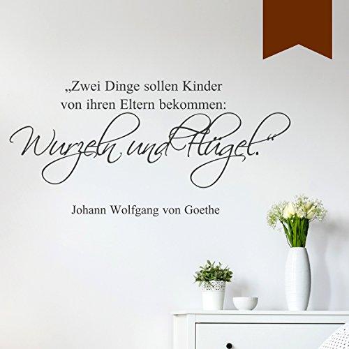WANDKINGS Wandtattoo - Zwei Dinge sollen Kinder von ihren Eltern bekommen: Wurzeln und Flügel (Johann Wolfgang von Goethe) - 150 x 72 cm - Braun - Wähle aus 5 Größen & 35 Farben