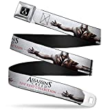 Buckle-Down Seatbelt Belt - ASSASSIN'S CREED II Ezio Hidden Blade Stretch Pose White/Grays/Black/Red - 1.5' Wide - 32-52 Inches in Length