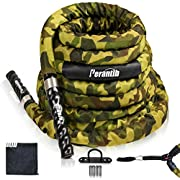 """Perantlb Battle Rope with Camouflage Cloth Sleeve -1.5/2 Inch Diameter 30' 40' 50' Lengths -Gym Muscle Toning Metabolic Workout Fitness, Battle Rope Anchor Strap Kit Included…(1.5"""" x 30 ft Length)…"""