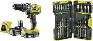 Ryobi R18PD3-215GZ 18 V ONE+ Cordless Combi Drill Starter Kit (2 x 1.5 Ah) & RAK30MIX Mixed Drilling and Driving Bit Set, ...