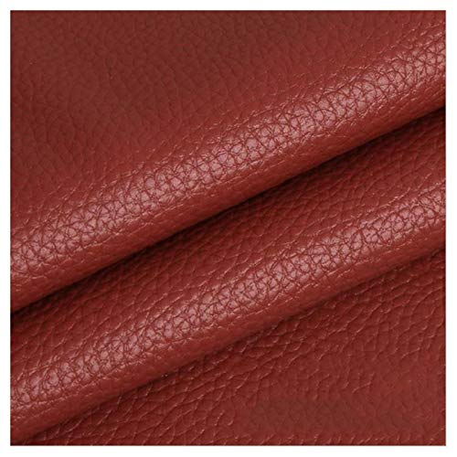 LILAMP Material Texturizado de Tapicería de Cuero Sintético Resistente de Tela de Cuero Sintético - Marrón Rojizo 1 Metro 100 Cm X 140 Cm(Size:1.4x7m)