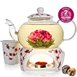 Teabloom Cherry Blossom Teapot & Flowering Tea Gift Set (6 Pieces) - Stovetop...