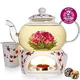 Coffret théière Cherry Blossom de la marque Teabloom - Théière en verre solide (800ml), couvercle en porcelaine,...