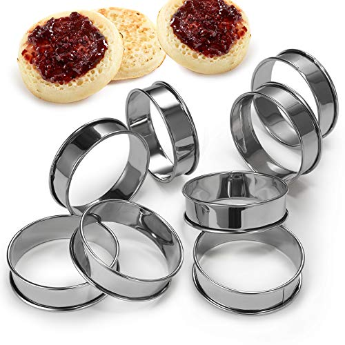 YOJOB Cake & Pastry Rings 8 Pcs English Muffin Rings Double Rolled Tart Ring 3.15 Inch Stainless Steel Muffin Tart Rings for Food Caking Baking