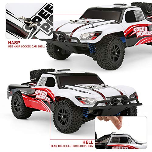 FUNTECH RC Car High Speed Remote Control Car 1/18 Scale 2.4 Ghz Radio Fast 30+ MPH 4x4 Off Road Remote Control Trucks with LED Light, Terrain RC Cars, Great RC Trucks for Adults Kids