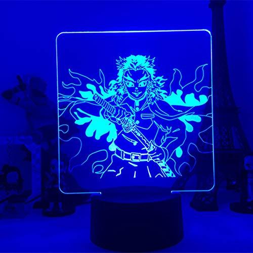 3D Illusion led Night Light Anime Demon Slayer Kyoujurou Rengoku Lamp Best Birthday, Holiday Gifts Lampara Raumdekor(16 Farben mit Fernbedienung)