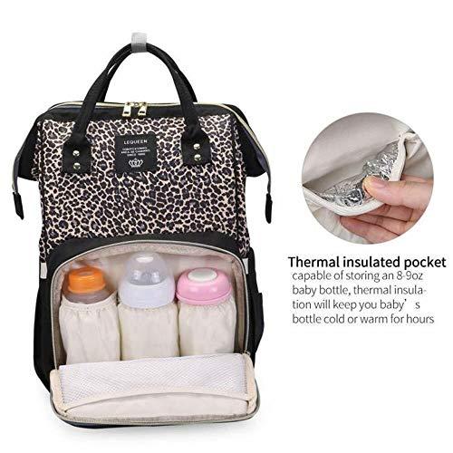 N /A LEQUEEN Bolsa de pañales Mochila Leopard Maternidad Pañal Bolsa de bebé Organizador Grande Impermeable Mamá Bolsa Moda Multifuncional Gran Capacidad  (1pc, café)