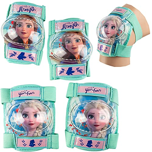 alles-meine.de GmbH 4 TLG. Set - Knieschoner + Ellenbogenschützer - Disney die Eiskönigin - Frozen - für Circa 4 bis 12 Jahre - Kinder - Schutzausrüstung - Gelenkschützer Kniesch..