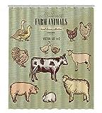 GCKG Farmtiere Vintage Collection Duschvorhang, Kuh, Schwein, Ziege, Schaf, Huhn, Ente, Gans, Truthahn, Kaninchen, wasserdicht, 152,4 x 182,9 cm