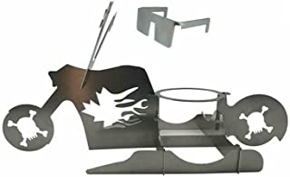 Rooster Love Beer Can Chicken Stand,Cave Tools Beer can Chicken Roaster Rack,Stainless Steel Motorcycle Grill with Eyes (A)