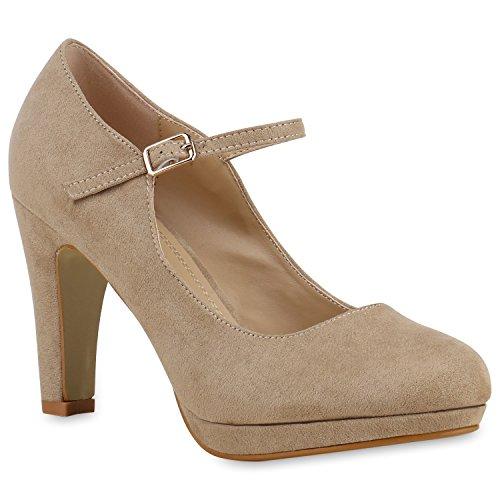 Damen Pumps T-Strap Blockabsatz High Heels Damen Mary Janes Samt Velours Spangenpumps Lack Leder-Optik Schuhe 129496 Creme 36 Flandell